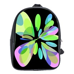 Green Abstract Flower School Bags (xl)  by Valentinaart