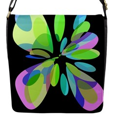 Green Abstract Flower Flap Messenger Bag (s) by Valentinaart