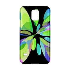 Green Abstract Flower Samsung Galaxy S5 Hardshell Case  by Valentinaart