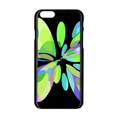 Green Abstract Flower Apple Iphone 6/6s Black Enamel Case by Valentinaart