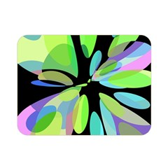 Green Abstract Flower Double Sided Flano Blanket (mini)  by Valentinaart