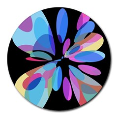 Blue Abstract Flower Round Mousepads by Valentinaart