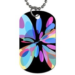 Blue Abstract Flower Dog Tag (one Side) by Valentinaart