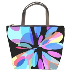 Blue Abstract Flower Bucket Bags by Valentinaart