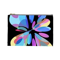 Blue Abstract Flower Cosmetic Bag (large)  by Valentinaart