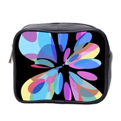 Blue Abstract Flower Mini Toiletries Bag 2 Side by Valentinaart