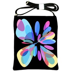 Blue Abstract Flower Shoulder Sling Bags by Valentinaart
