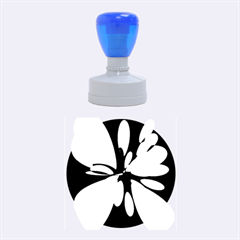 Blue Abstract Flower Rubber Round Stamps (medium) by Valentinaart