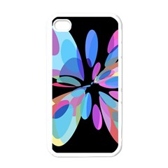Blue Abstract Flower Apple Iphone 4 Case (white) by Valentinaart