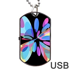 Blue Abstract Flower Dog Tag Usb Flash (one Side) by Valentinaart
