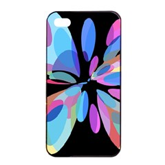 Blue Abstract Flower Apple Iphone 4/4s Seamless Case (black) by Valentinaart
