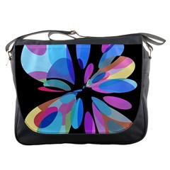 Blue Abstract Flower Messenger Bags by Valentinaart