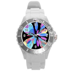 Blue Abstract Flower Round Plastic Sport Watch (l) by Valentinaart