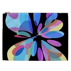 Blue Abstract Flower Cosmetic Bag (xxl)  by Valentinaart