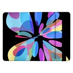 Blue Abstract Flower Samsung Galaxy Tab Pro 12 2  Flip Case by Valentinaart