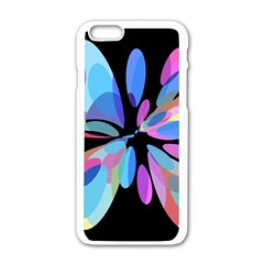 Blue Abstract Flower Apple Iphone 6/6s White Enamel Case by Valentinaart