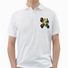 Colorful Abstract Flower Golf Shirts by Valentinaart