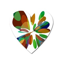 Colorful Abstract Flower Heart Magnet by Valentinaart