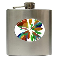 Colorful Abstract Flower Hip Flask (6 Oz) by Valentinaart