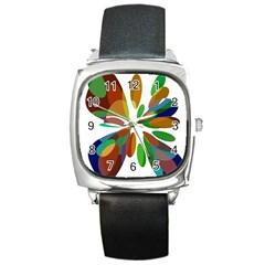 Colorful Abstract Flower Square Metal Watch by Valentinaart