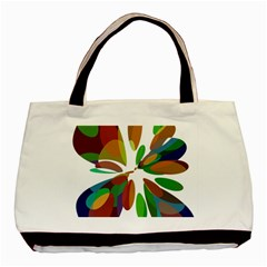 Colorful Abstract Flower Basic Tote Bag (two Sides) by Valentinaart