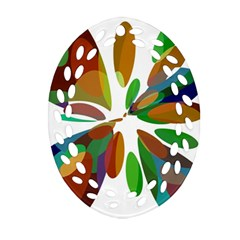 Colorful Abstract Flower Ornament (oval Filigree)  by Valentinaart