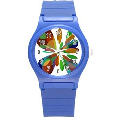 Colorful Abstract Flower Round Plastic Sport Watch (s) by Valentinaart