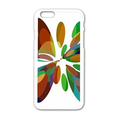 Colorful Abstract Flower Apple Iphone 6/6s White Enamel Case by Valentinaart
