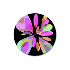 Pink Abstract Flower Magnet 3  (round) by Valentinaart