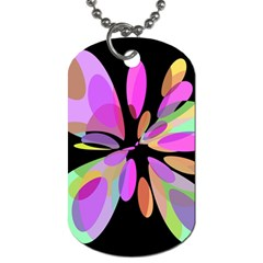 Pink Abstract Flower Dog Tag (two Sides) by Valentinaart