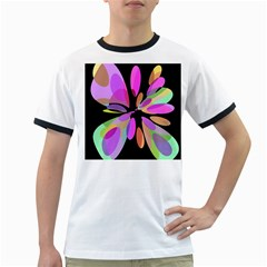 Pink Abstract Flower Ringer T-shirts by Valentinaart