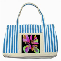 Pink Abstract Flower Striped Blue Tote Bag by Valentinaart
