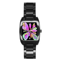 Pink Abstract Flower Stainless Steel Barrel Watch by Valentinaart