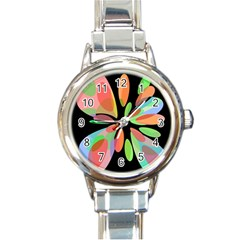 Colorful Abstract Flower Round Italian Charm Watch by Valentinaart