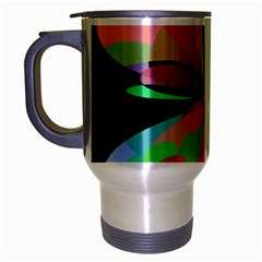 Colorful Abstract Flower Travel Mug (silver Gray) by Valentinaart