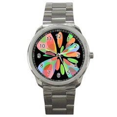 Colorful Abstract Flower Sport Metal Watch by Valentinaart