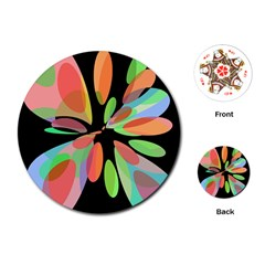 Colorful Abstract Flower Playing Cards (round)  by Valentinaart