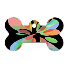 Colorful Abstract Flower Dog Tag Bone (one Side) by Valentinaart