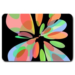 Colorful Abstract Flower Large Doormat  by Valentinaart