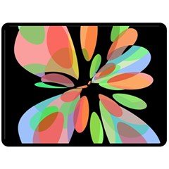 Colorful Abstract Flower Fleece Blanket (large)  by Valentinaart