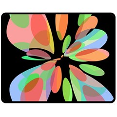 Colorful Abstract Flower Fleece Blanket (medium)