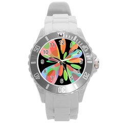 Colorful Abstract Flower Round Plastic Sport Watch (l) by Valentinaart