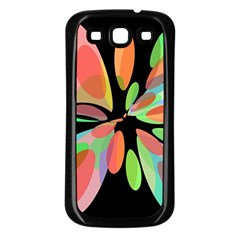 Colorful Abstract Flower Samsung Galaxy S3 Back Case (black) by Valentinaart