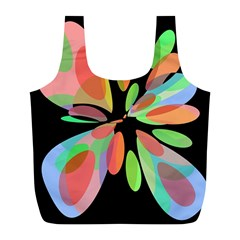 Colorful Abstract Flower Full Print Recycle Bags (l)  by Valentinaart