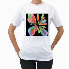 Colorful Abstract Flower Women s T Shirt (white)  by Valentinaart