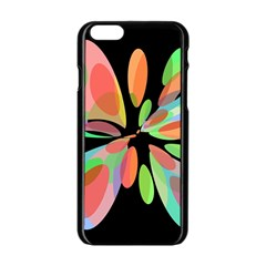 Colorful Abstract Flower Apple Iphone 6/6s Black Enamel Case by Valentinaart