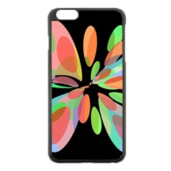 Colorful Abstract Flower Apple Iphone 6 Plus/6s Plus Black Enamel Case by Valentinaart