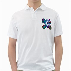 Blue Abstract Flower Golf Shirts by Valentinaart