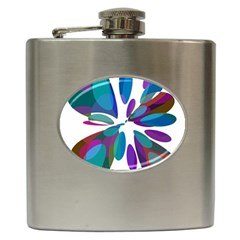 Blue Abstract Flower Hip Flask (6 Oz) by Valentinaart