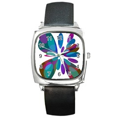 Blue Abstract Flower Square Metal Watch by Valentinaart